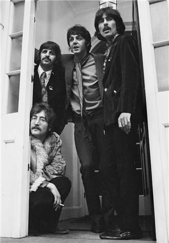 The Beatles, Sgt. Pepper's Launch, Belgravia, London, 1967  © Barrie Wentzell, 1967  Taken outside Brian Epstein's home, Belgravia, London during the launch party for Sgt. Pepper's Lonely Hearts Club Band.