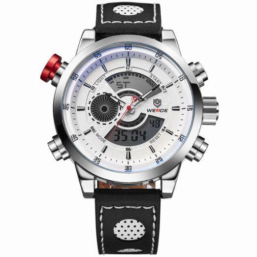 Chicos LED Digital Analógico Dual Time Display WEIDE Pixnor WH-3401 multifuncional impermeable de los hombres deportes reloj de pulsera con cronómetro Datesemana alarma PU banda (blanco)