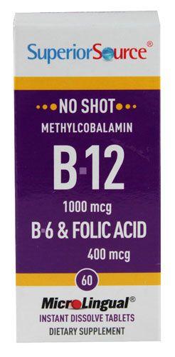 Superior Source No Shot® Methylcobalamin B12 B6 & Folic