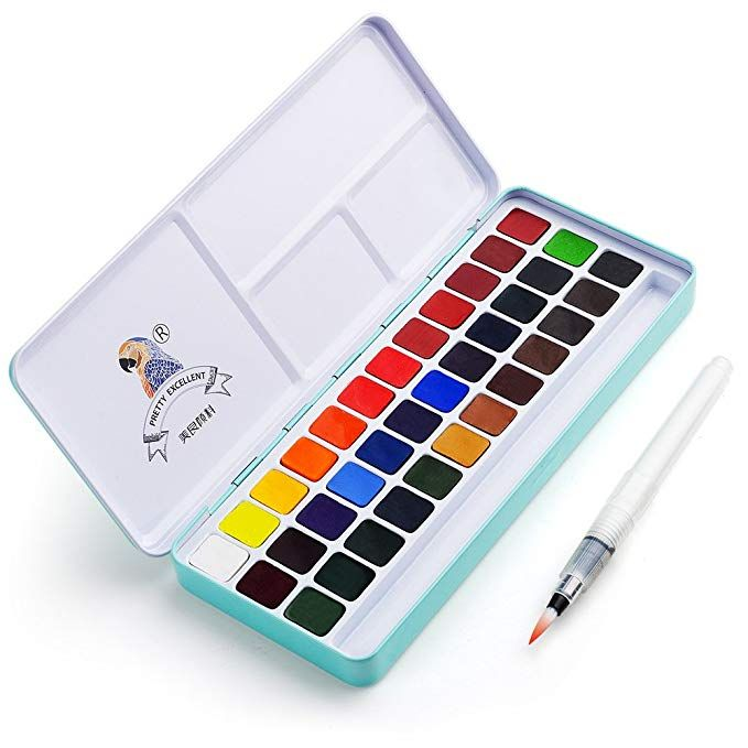 Meiliang Watercolor Paint Set 36 Vivid Colors In Pocket Box With