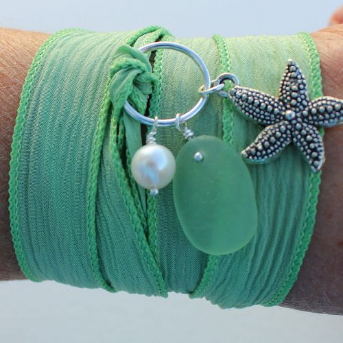 Celadon Green Silk Wrap Bracelet with Starfish and Pearl