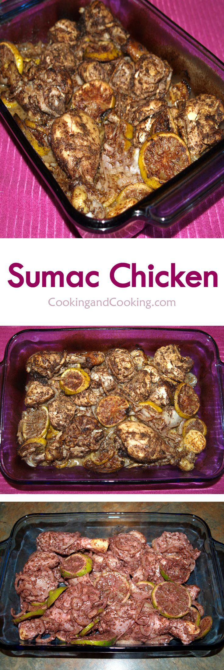 Sumac Chicken recipe is a simple chicken dish using sumac. Just marinate the chicken with sumac, lime, garlic, olive oil, oregano and allspice over night and bake.