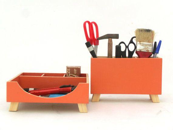 Desk Orange Organizer Desktop Organizer School Desktop Wood