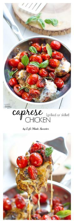 Grilled or Skillet Caprese Chicken - The most perfect and flavorful caprese chicken that's the easiest for weeknights. Grilled or on the skillet, it's just as easy & ready in only 30 minutes.