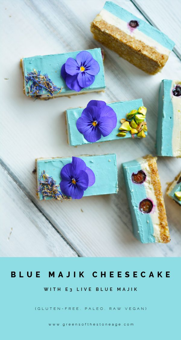 Packed full of delicious and nutritious ingredients this Blue Majik Cheesecake will knock your socks of with an all natural blue colour and anti-inflammatory properties. Made with @e3live  Blue Majik.