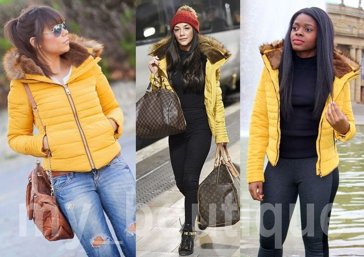 ZARA mustard / yellow ANORAK PADDED QUILTED PUFFER FUR JACKET - LARGE L / UK 12 in Clothes, Shoes & Accessories, Women's Clothing, Coats & Jackets | eBay!