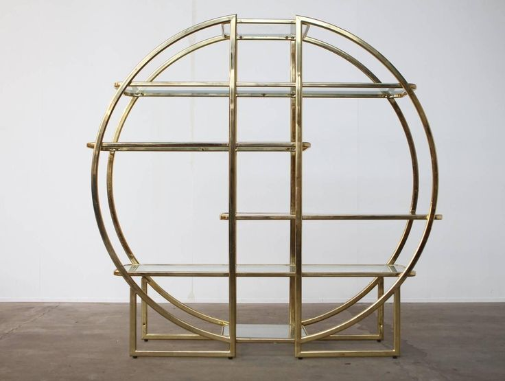 Circular Brass Etagere with Glass Display Shelves | From a unique collection of…