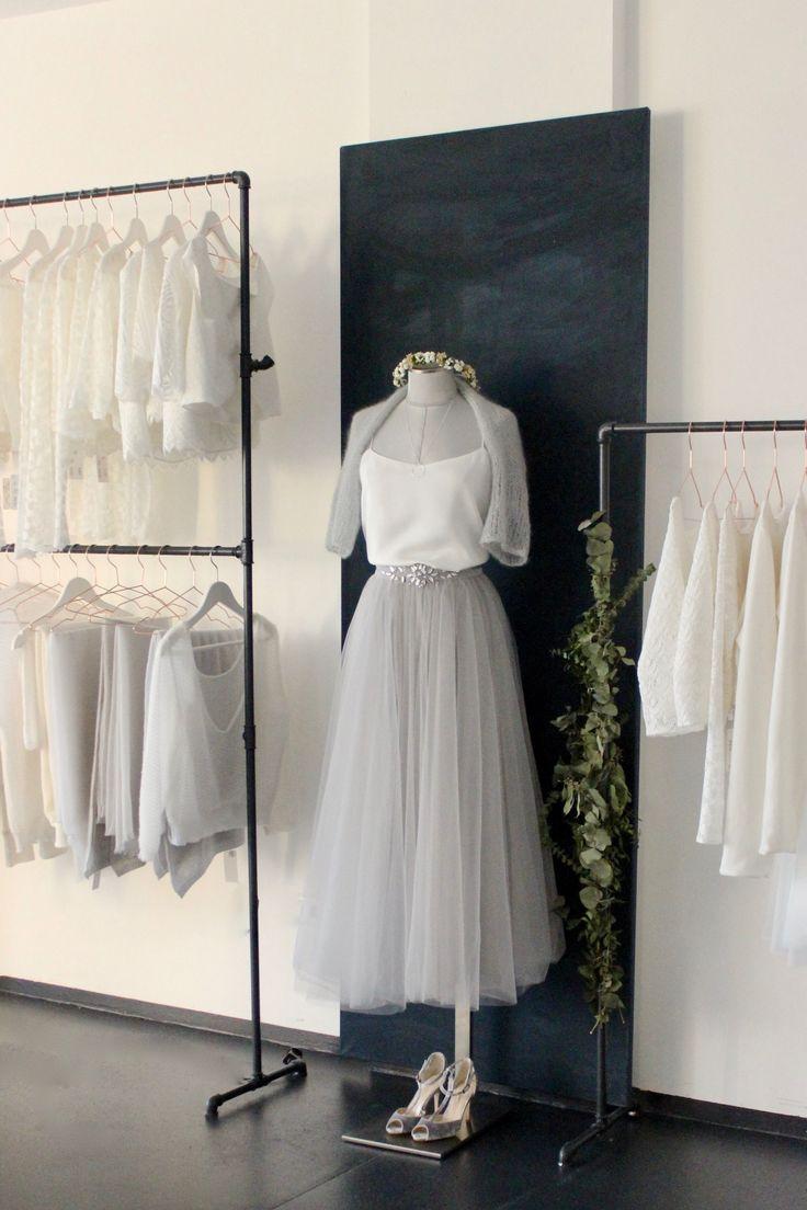 Brautkleider Boho Glam Stil, Zweiteiler mit Tuellrock und schlichtem Braut Top
