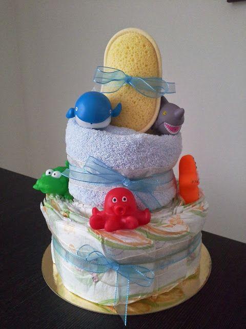 torta di pannolini a tema marino - sea themed diaper cake #diapercake #tortapannolini