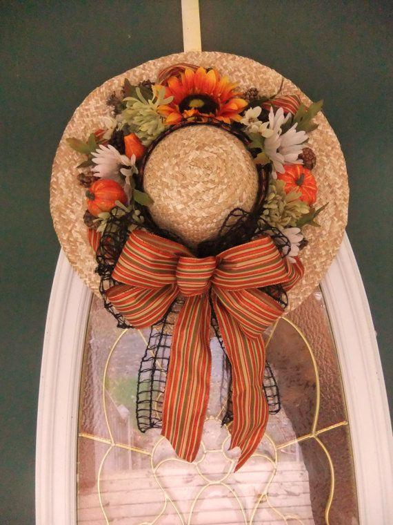 Fall Straw Hat Wreath Halloween Decor Pumpkin by AngiesSilkFlowers, $67.00