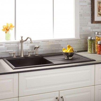 "39"" Manton Drop-In Granite Composite Sink with Drain Board - Black"