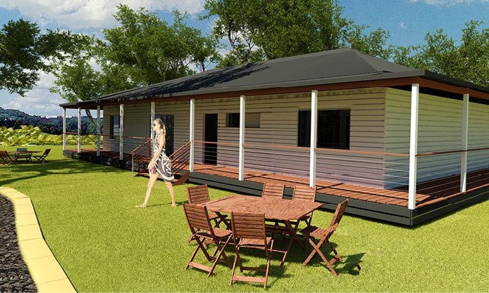 The Homestead: A three bedroom spacious family design, with open plan living and an optional classic Australian verandah, creating living spaces suitable for everyone.
