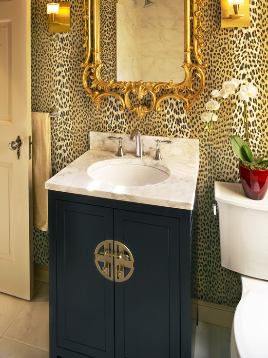 Not Crazy About The Wallpaper But I Love The Mirror! Leopard Wall Paper,  Gilt Mirror, U0026 Chinese Brass Medallion On Black Painted Vanity In Eclectic  Powder ...