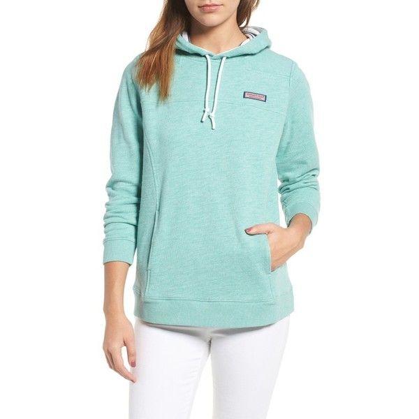 Women's Vineyard Vines Hoodie ($125) ❤ liked on Polyvore featuring tops, hoodies, capri blue, nautical top, green hoodies, french terry hoodie, sweatshirt hoodies and green top