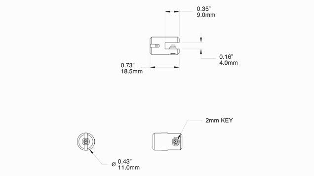 Attache verticale Pro simple, petite - Système câble tendu