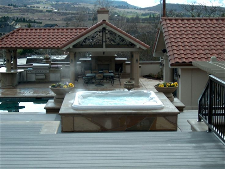 118 best Outdoor fireplace, spa, kitchen images on Pinterest | Decks ...