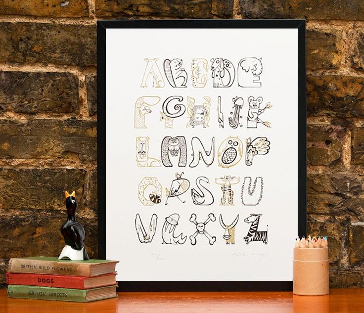 Animal Alphabet Print ABC animal poster. £60.00, via Etsy.