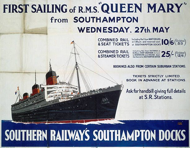 Poster produced for Southern Railways (SR) to advertise the first sailing of the liner Queen Mary, and tickets to the event from London train stations. The Queen Mary was the largest and fastest liner ever built: she could accommodate 776 first-class, 784 tourist and 579 third-class passengers, together with 1101 officers and crew. She also won the Blue Riband of the Atlantic in 1936 and 1938, and served as a troop ship in the Second World War. Artwork by Leslie Carr, who painted marine…