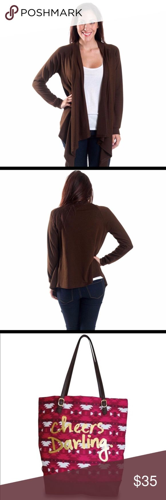 New Item Just In Waterfall Front Cardigan This Lovely Brown Waterfall Front Cardigan is s comfortable fit and loose and just the right thing to dress up even a pair of jeans Sweaters Cardigans