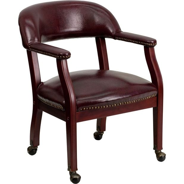iHome Kolding Decor Oxblood Vinyl Luxurious Conference Chair w/Casters, Red Burgundy