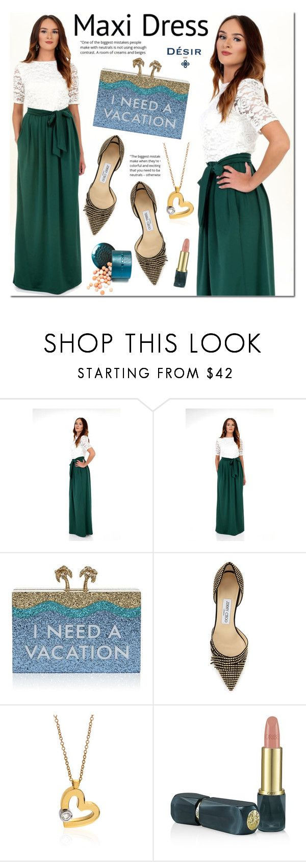 Desir Vale maxi dress by mada-malureanu on Polyvore featuring Jimmy Choo, Kate Spade, Roberto Coin, Oribe, dress, maxidress, summerstyle, dreamydress and DesirVale