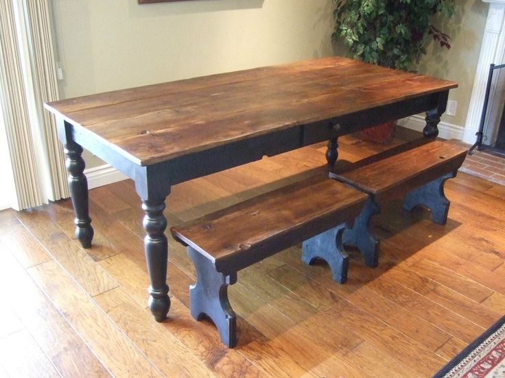 Farm Table Like The Colors Like The Short Benches Wish The Benches Had Turned Legs Like The
