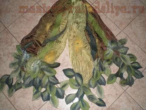 Мастер-класс по валянию: Палантин с листьями