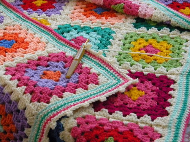 like the colors, really like the white final row and the edging-- sc through both loops, picot edging in white?