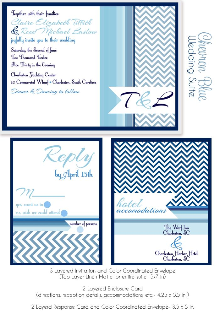 chevron, chevron wedding invites, blue wedding invites, shades of blue, wedding invitations, chevron invitations via party box design