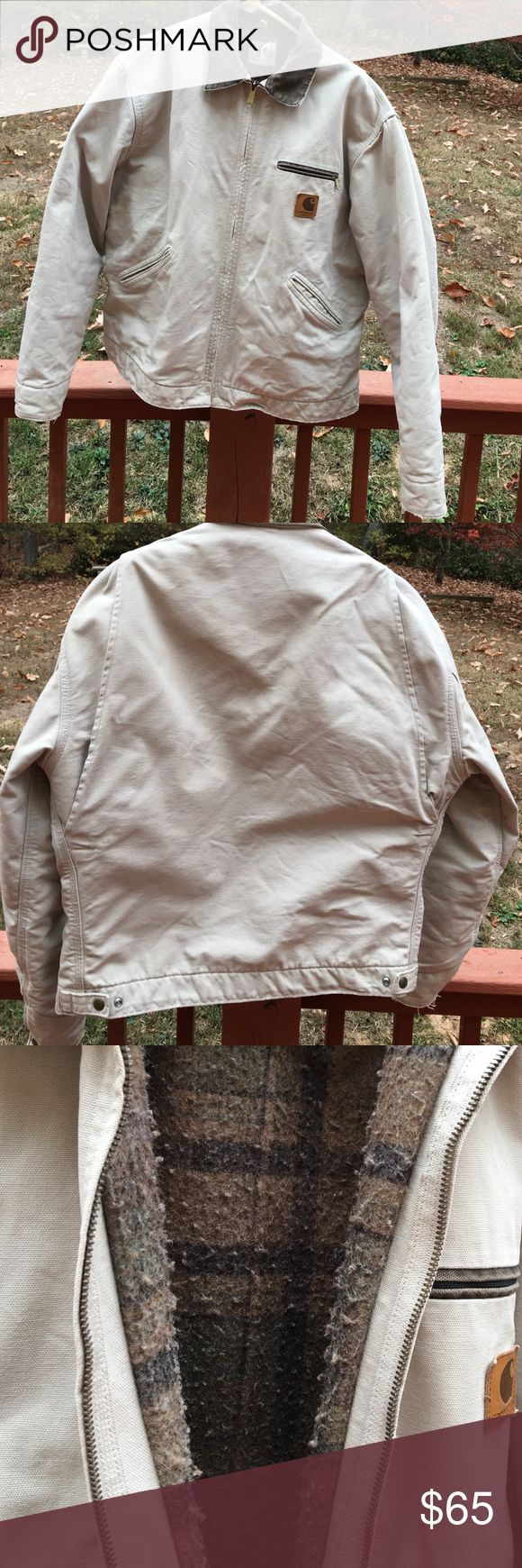CARHARTT JACKET. Best guess on size is Large. CARHARTT JACKET. This is an at least a 10 year old jacket.. maybe older. BUT, there are no stains or holes.. the outside looks great!! The inside definitely shows some wear(please see all pics) but great thing is you can't tell when you have it on.. still keeps you super warm. This was my boyfriends, I even thought about keeping it for my self.. in my opinion this coat works for a guy or girl.. the end of the sleeves have some strings but I will…