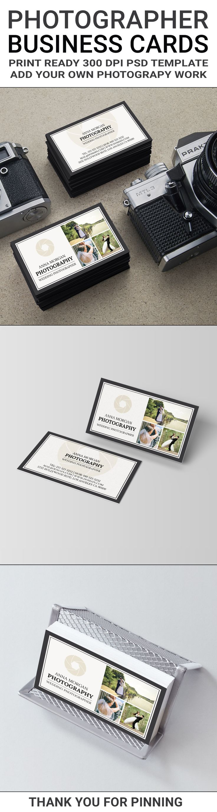 An elegant two sided business cards template for photographers. This business card design offers you the ability to add your own photography work to the template. While this template is setup for wedding photographers, it will work perfectly for any other area of photography, such as portrait or landscape photography for example. Template includes the shutter logo and three (3) wedding photographs, which can be replaced with your own or used as is. Print ready, downloadable layered PSD…