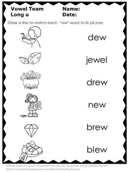 Long u Worksheets ew, ui, ue 1st Grade Phonics Review