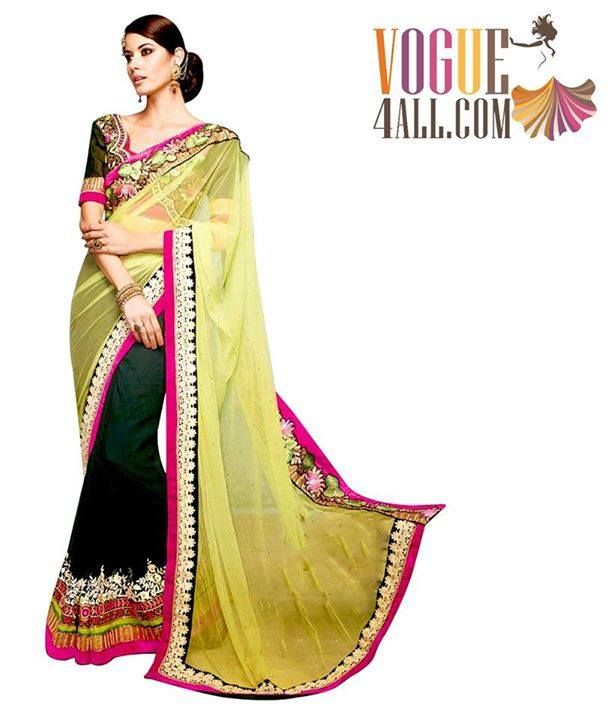 ## GORGEOUS SPARKLING NET AND GEORGETTE EMBROIDERED SAREE ##