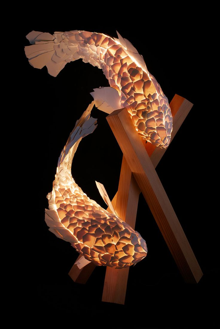 Frank Gehry fish lights. Images from Gagosian Gallery