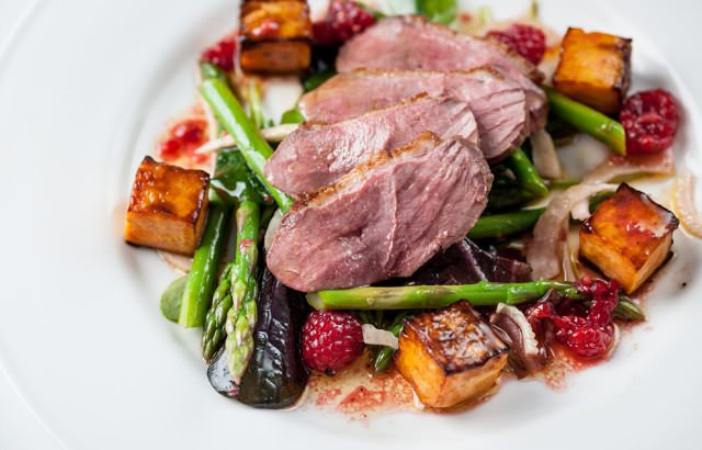 A supreme duck breast salad recipe from Graham Campbell comes served with asparagus, pickled fennel and sweet potato