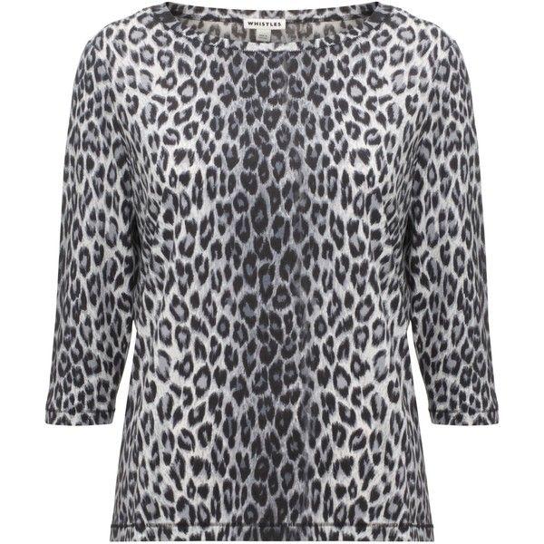 Whistles Paloma Cheetah Print Top, Grey ($39) ❤ liked on Polyvore featuring tops, sleeve top, cheetah print top, whistles tops, cheetah top and grey top