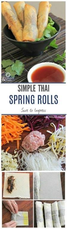 These Simple Spring Rolls are Sure to Impress You can serve Thai or Vietnamese Style (gluten free and veg options) www.compassandfork.com