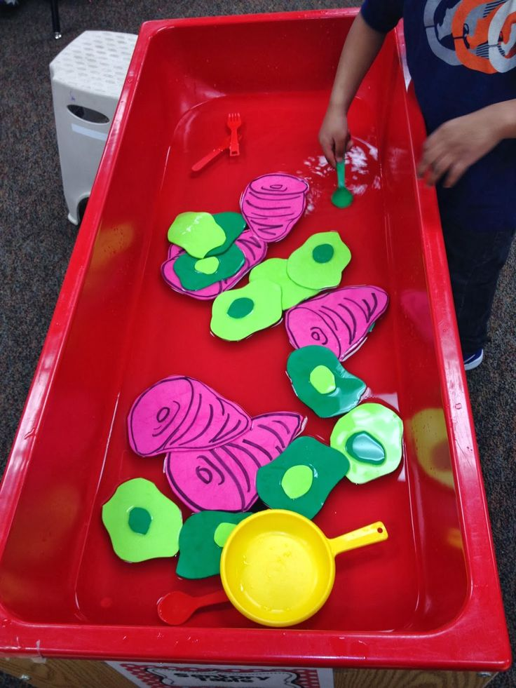 Sensory table idea for Dr. Seuss week   Foam green eggs and ham and frying pans/spatulas!