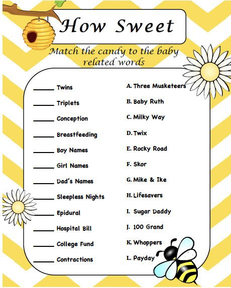 Bee Baby Shower Matching Game - Instant Download