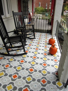 Finished product!  Painted stencil work on concrete front porch.