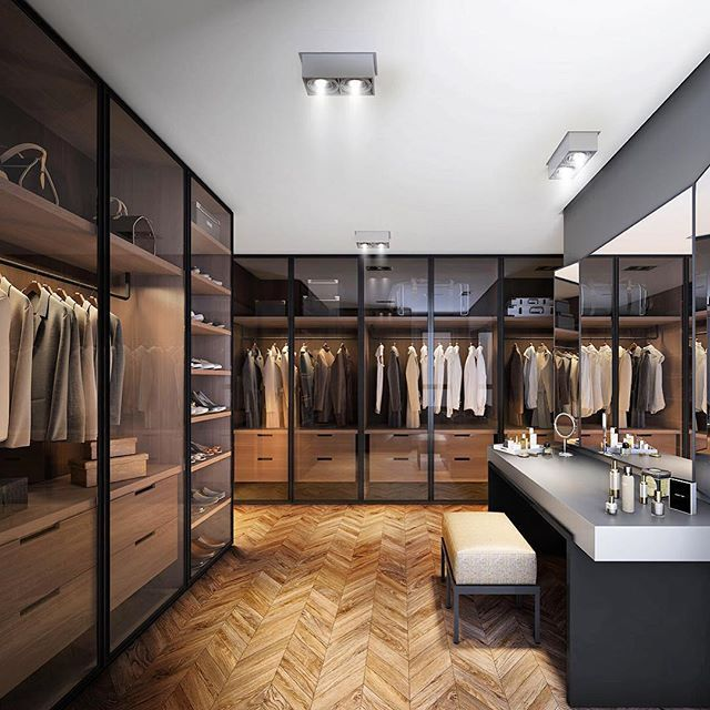 Pinewood closet, smoked glass doors and perfect lighting #modern_interiordesign…