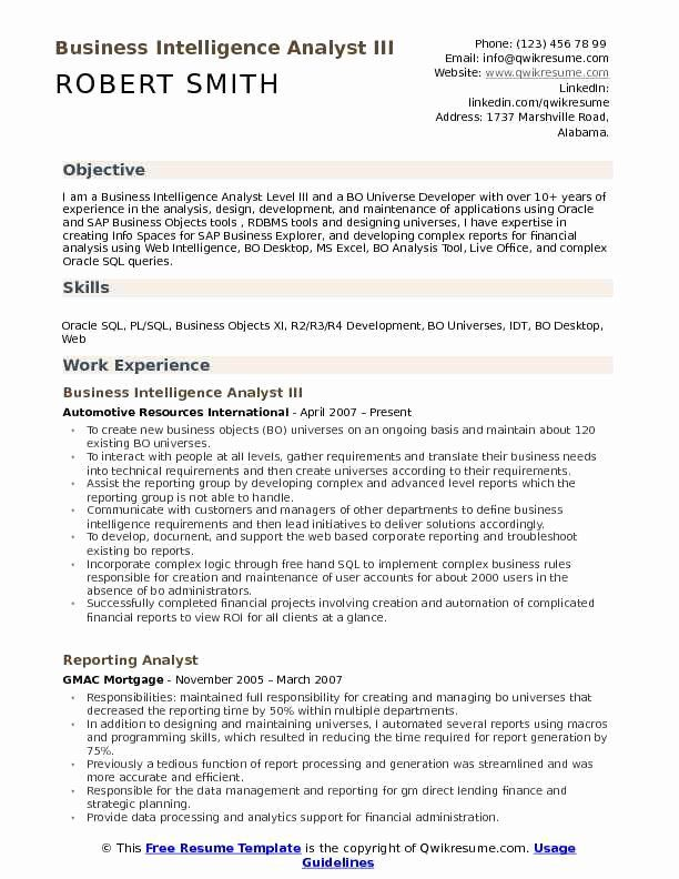 Business Analyst Resume Summary Examples New Business Intelligence Analyst Resume Samples Resume Examples Manager Resume Restaurant Management