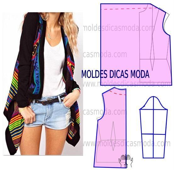 Passo a passo de molde de casaco descontraído. No blogue existem bases largas, semi-largas e justas em diversos tamanhos.