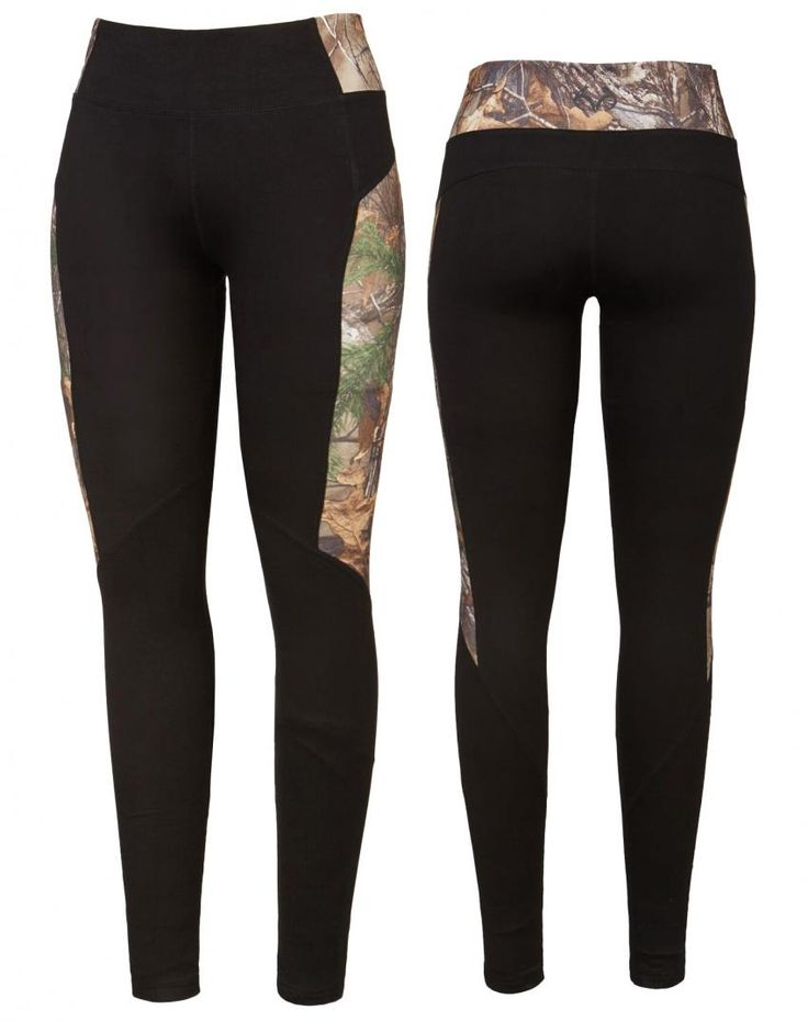 Realtree women's Activewear Black Camo pants 2017 - The Canopy legging uses the classic Realtree Xtra print to its best advantage, shaping the body and camouflaging the parts that need it most. Features a silver reflective Realtree logo in back.