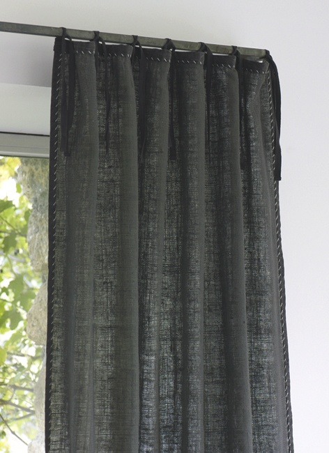 Linen Tie Hand Stitched Curtains With Iron Rod