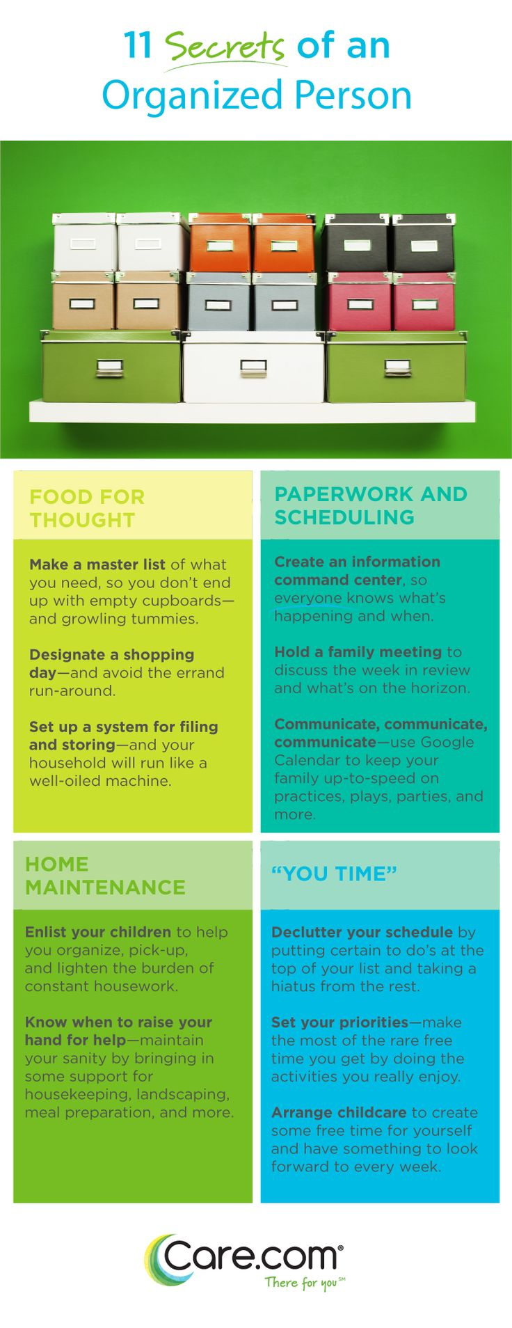 Secrets of an Organized Person - 11 Tips to involve your family in the process of maintaining your home.