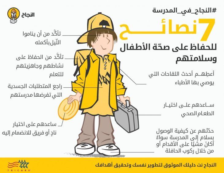 انفوغرافيك 7 نصائح للحفاظ على صحة الأطفال وسلامتهم في المدرسة Healthy Kids School Memes