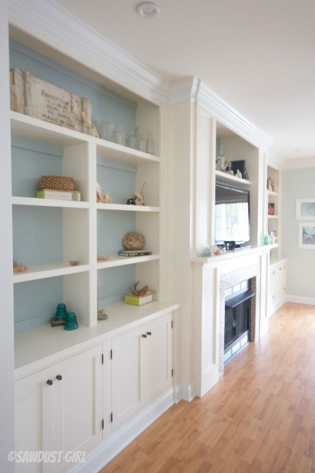 Built-in Entertainment Center and Fireplace | http://thesawdustdiaries.com/fireplace-wall-built-ins-courtney-reveal/