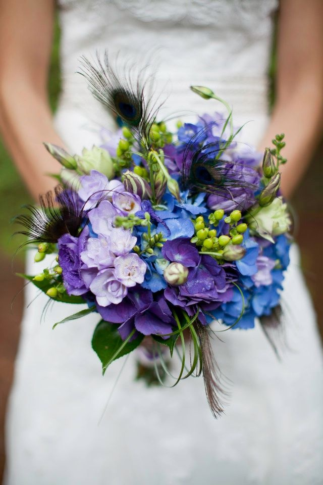 Beautiful Purple Blue Wedding Bouquets With Peacock Feathers
