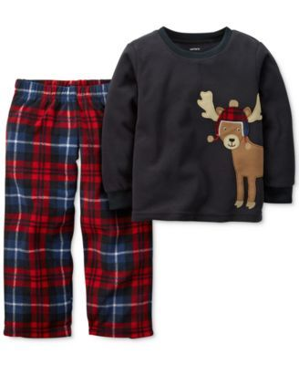 Carter's Baby Boys' 2-Piece Reindeer & Plaid Pajamas - Macy's (12 month)